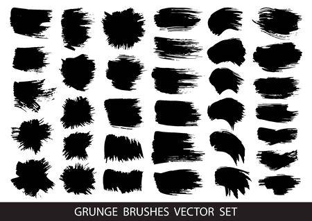 Set di vernice nera, pennellate di inchiostro, pennelli, linee. Elementi di design artistico sporco, scatole, cornici per il testo. Illustrazione vettoriale