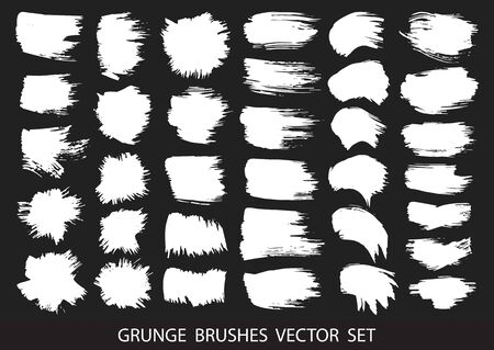 Set of white paint, ink brush strokes, brushes, lines. Dirty artistic design elements, boxes, frames for text. Vector illustration.