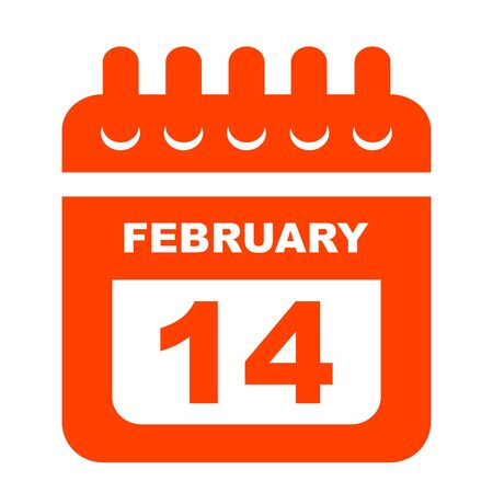 Valentines day calendar icon . 14 february