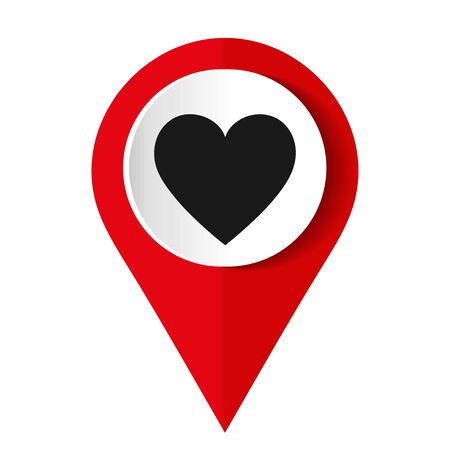 Map pointer with a heart icon. Vector illustration