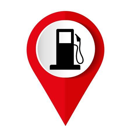 Map pointer with gas station icon. Vector illustration.