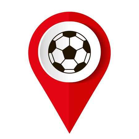 Soccer ball and location pin on white. Vector illustration.