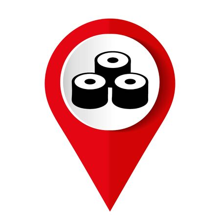 Map marker with icon of a sushi rolls vector illustration Illusztráció