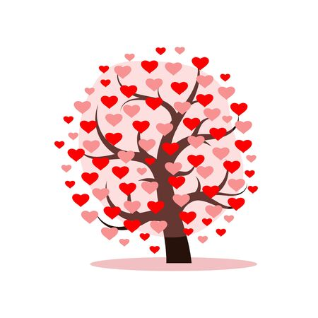 Love tree with heart leaves. Vector illustration.