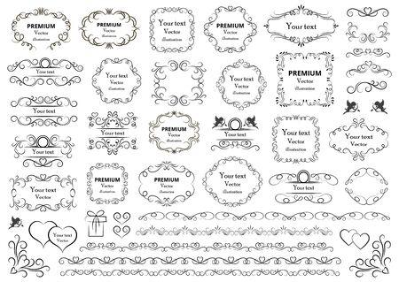 Elementi di disegno calligrafico. Riccioli decorativi o pergamene, cornici vintage, svolazzi, etichette e divisori. Illustrazione vettoriale retrò.