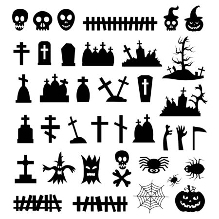 set of vector icons for halloween