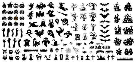 Set of silhouettes of Halloween on a white background. Vector illustration