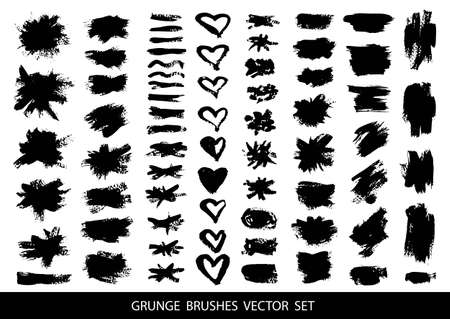 Big collection of black paint, ink brush strokes, brushes, lines, grungy. Dirty artistic design elements, boxes, frames. Isolated on white background. Freehand drawing. Vector illustration. Vectores
