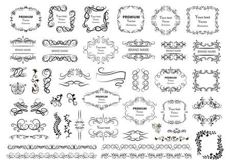Calligraphic design elements. Decorative swirls or scrolls, vintage frames, flourishes, labels and dividers. Retro vector illustration. Ilustrace