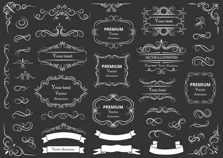 Calligraphic design elements. Decorative swirls or scrolls, vintage frames, flourishes, labels and dividers. Retro vector illustration.