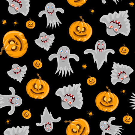 Vector seamless pattern for Halloween. Pumpkin, ghost and spider on the Halloween theme. Bright cartoon pattern for Halloween.