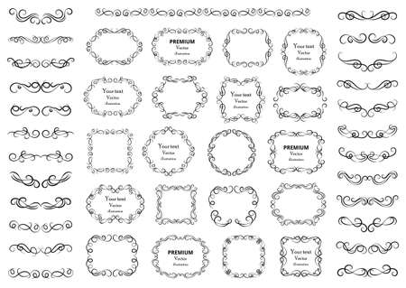 Calligraphic design elements. Decorative swirls or scrolls, vintage frames, flourishes, labels and dividers. Retro vector illustration