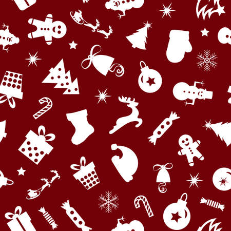 Christmas seamless pattern of icons on red background in flat style. Vector illustration.