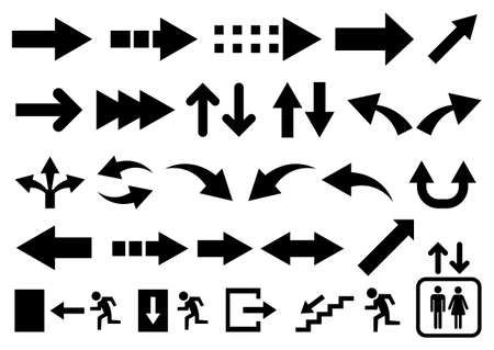 Vector set of black arrow shapes and icon isolated on white.