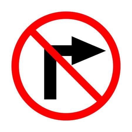 Do not turn right. Vector illustration.