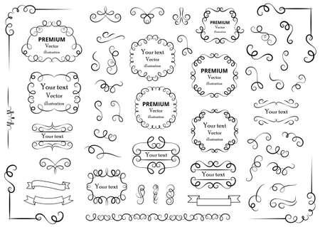 Calligraphic design elements. Decorative swirls or scrolls, vintage frames, flourishes, labels and dividers. Retro vector illustration
