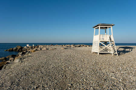 Lifeguard tower on the city beach in the morning in the resort village of Nebug, Krasnodar Territory, Russia.