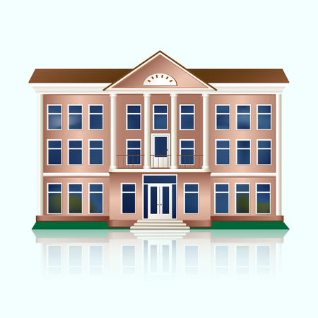 bank building with columns and reflection  Vector