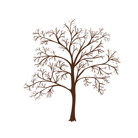 deciduous tree: icon silhouette of a tree with no leaves  Illustration