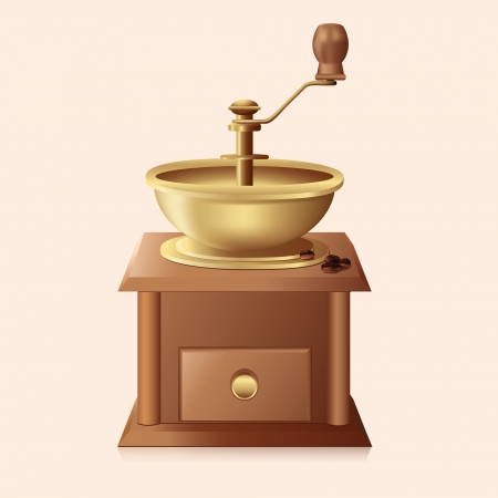 icon antique coffee grinder with coffee beans  Stock Vector - 24915773
