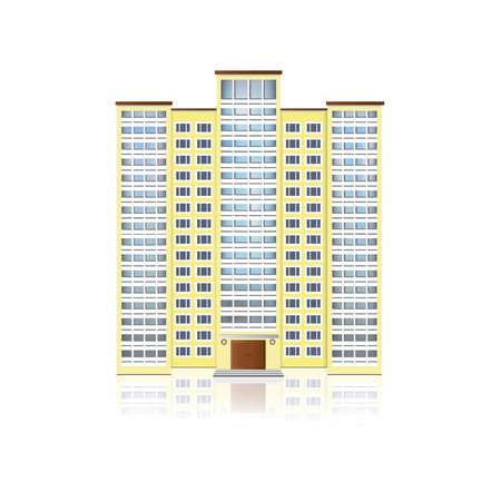 yellow multi-storey residential building with reflection Vector