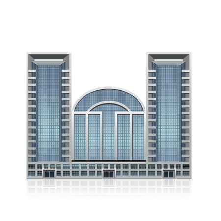 vrijstaande meerdere verdiepingen kantoorgebouw, business center met reflectie Stock Illustratie