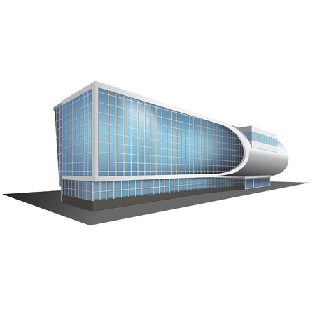 detached multistory office building, business center Ilustrace