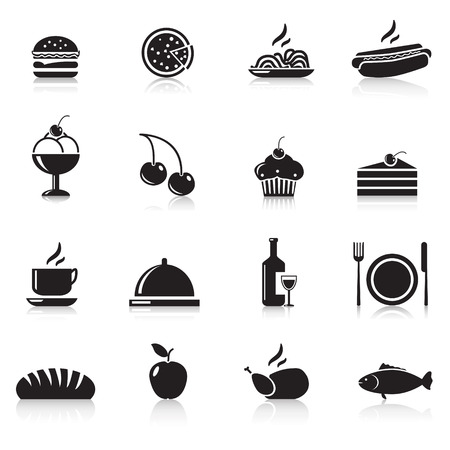 icons food: chicken, hamburger, wine, a plate, apple Vector