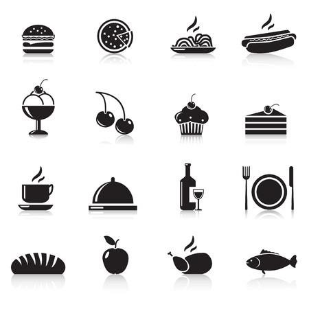 pictogrammen eten: kip, hamburger, wijn, een bord, appel