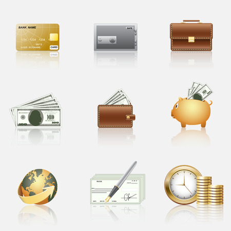 Finance icons: piggy bank, coins, dollars, credit card. Vector