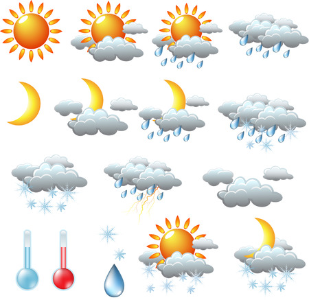 snow storm: weather icons: sun, rain, snow, storm, clouds