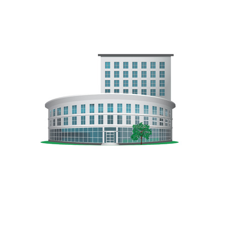 gebäude: Bürogebäude mit einem Eingang und einem Baum