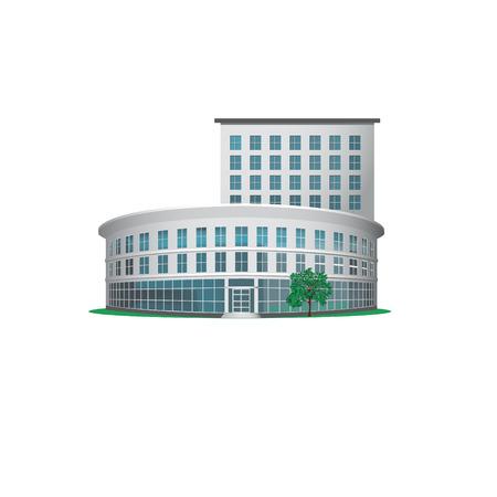 oficina: edificio de oficinas con una entrada y un árbol Vectores