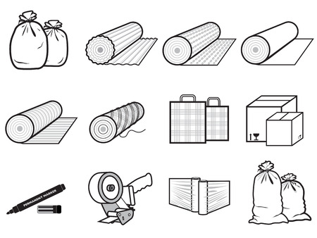 icons packages of goods  bag, boxes, stretch polyethylene, cardboard