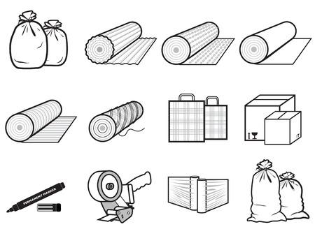 pictogrammen pakketten van goederen zak, dozen, rekken polyethyleen, karton