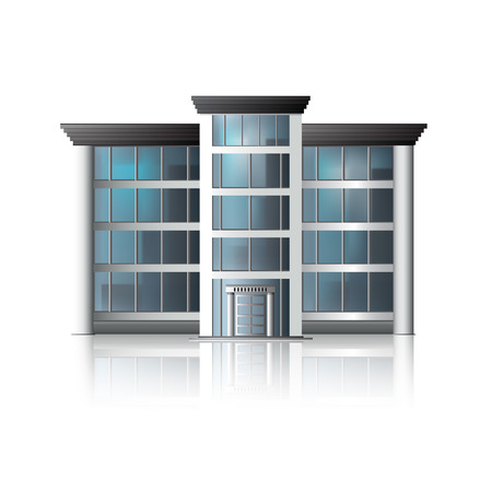 office building icon: office building with reflection and input. Illustration