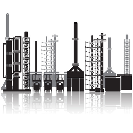 石油精製所、パイプライン、タンク、ガソリン、ガス。  イラスト・ベクター素材