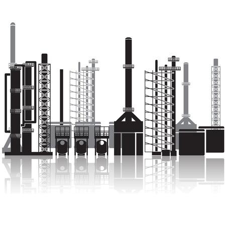 olieraffinaderij, pijpleidingen, tanks, benzine, gas.