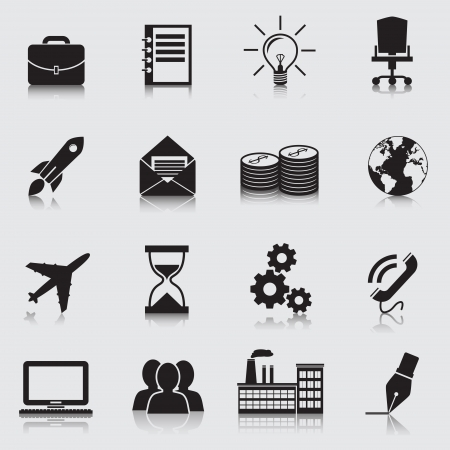 Business icons: office, computer, globe Vector