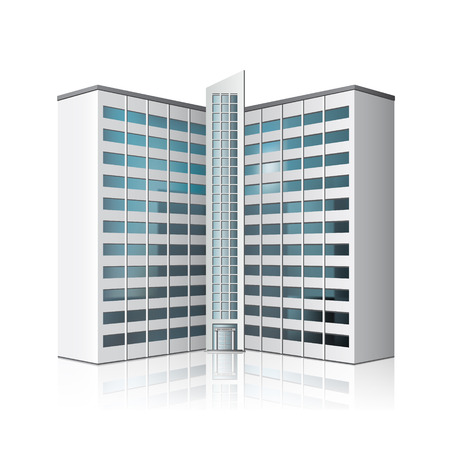 stage door: detached multistory office building, business center with reflection
