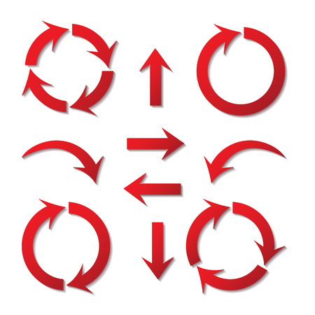 set of paper arrows red with shadows on white background Vector