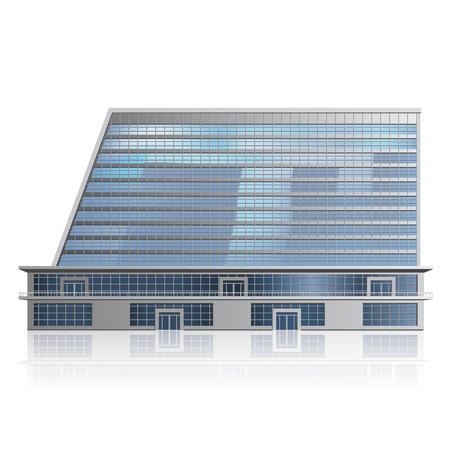 detached: edificio de oficinas de varios pisos individual, centro de negocios con la reflexi�n Vectores