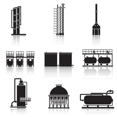 Pictogrammen olieraffinaderij, pijpleidingen, tanks, benzine, gas.