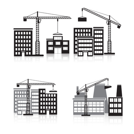 building construction: icon construction: crane, house, machine, factory.