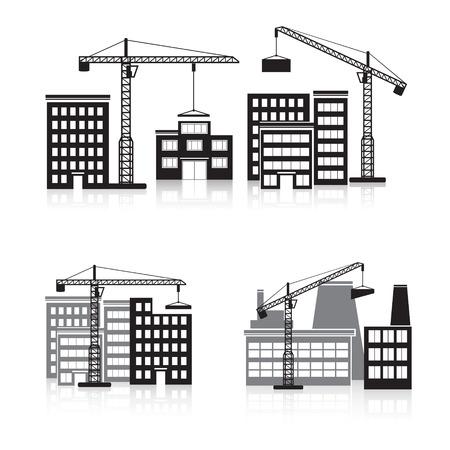 bouwkraan: pictogram bouw: kraan, huis, machine, fabriek. Stock Illustratie