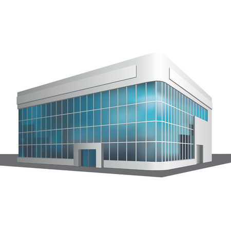 detached: detached multistory office building, business center on a white