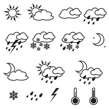 Weather Icons with White ,  sun, cloud, snow, rain Ilustração