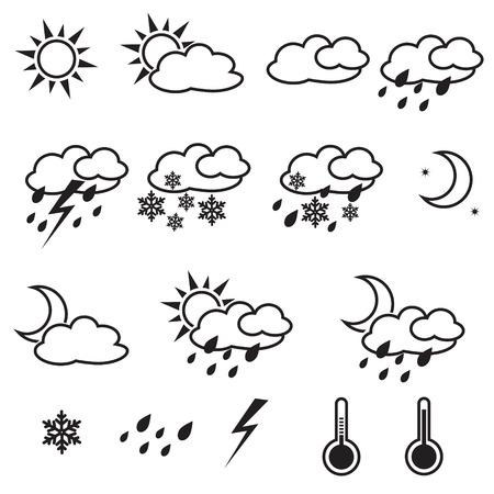 Weer Pictogrammen met wit, zon, wolken, sneeuw, regen