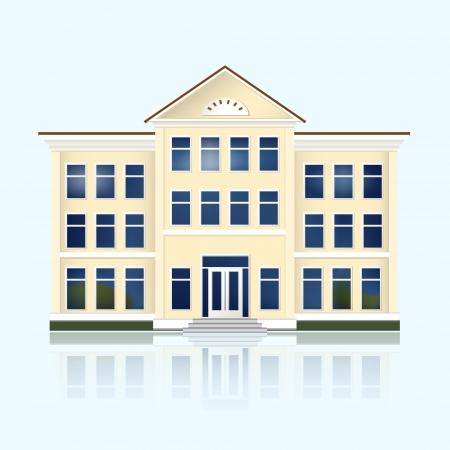 gele schoolgebouw met reflectie.