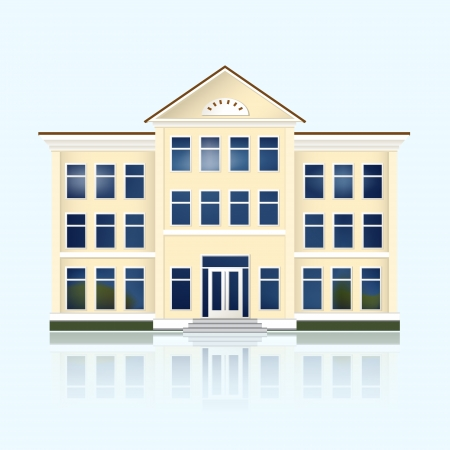 yellow school building with reflection. Vector